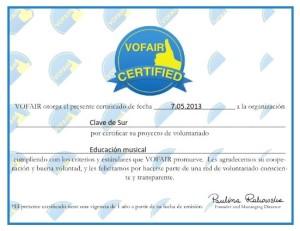 Certificado Vofair - voluntariado